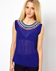 A Wear Top With Jewel Neck