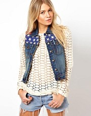 Brave Soul Denim Gilet With American Flag Trim