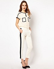 French Connection Contrast Panel Tailored Trouser