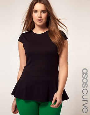 Image 1 ofASOS CURVE Exclusive Heavy Jersey Top With Peplum Hem
