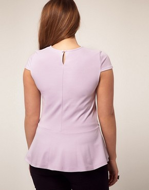 Image 2 of ASOS CURVE Exclusive Heavy Jersey Top With Peplum Hem