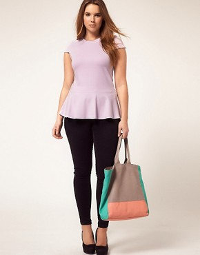 Image 4 ofASOS CURVE Exclusive Heavy Jersey Top With Peplum Hem