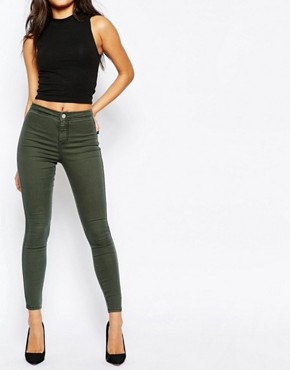 ASOS Rivington High Waisted Jeggings in Washed Khaki