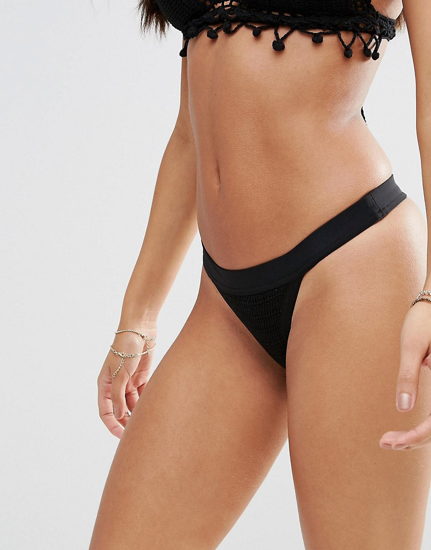 Somedays Lovin Crochet Bikini Bottom - Black
