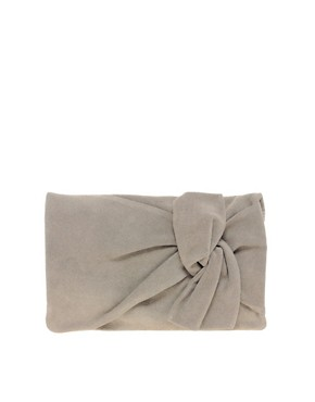 Image 1 ofASOS Suede Bow Clutch Bag