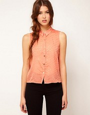 Goldie Sleeveless Blouse With Gold Dots