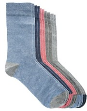 River Island &ndash; Spring &ndash; 5er-Pack melierte Socken