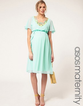 Bild 1 von ASOS Maternity  Exklusives, verziertes Kleid mit Trompetenrmeln