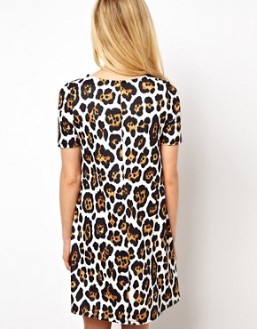 Image 2 ofASOS Swing Dress With Short Sleeve In Oversized Animal Print