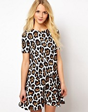 ASOS Swing Dress With Short Sleeve In Oversized Animal Print