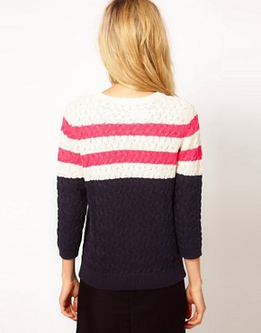 Image 2 ofMango Pink Stripe Detail Jumper