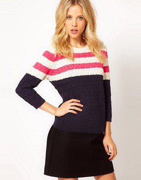Image 1 ofMango Pink Stripe Detail Jumper