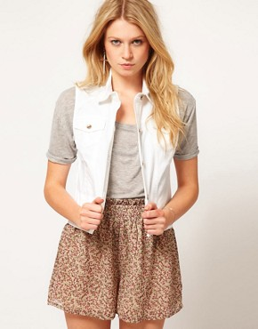 Image 1 ofASOS Gilet in White Denim