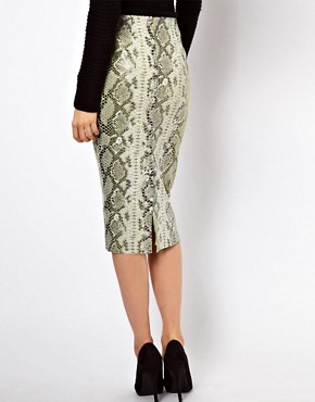 Image 2 ofASOS Pencil Skirt in Snake Effect Leather