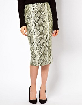 Image 4 ofASOS Pencil Skirt in Snake Effect Leather
