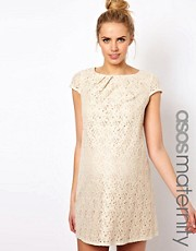 ASOS Maternity Shift Dress In Lace With Pleated Neck