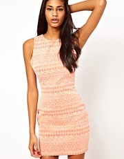Lipsy Tribal Flocked Bodycon Dress