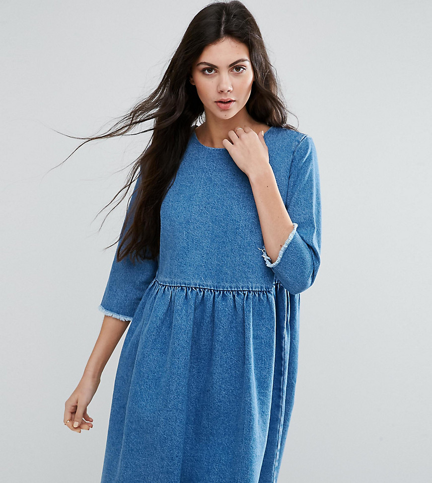 ASOS TALL Denim Smock Dress In Midwash Blue