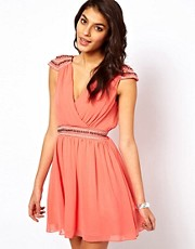 TFNC Dress With Cross Front And Embellished Shoulder