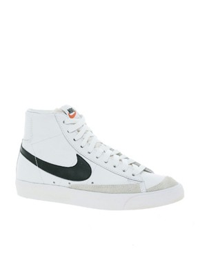 Image 1 ofNike Blazer Mid White Leather Trainers