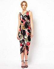 Traffic People Ink Print Rouched Maxi Dress