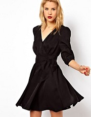 ASOS Skater Dress With Gathered Wrap