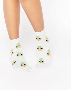 ASOS Glitter Base Pineapple Ankle Socks