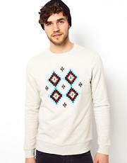 ASOS Sweatshirt With Aztec Embroidery