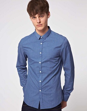 Image 1 ofASOS Slim Fit Shirt With Polka Dot