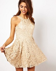 Forever Unique Lace Skater Dress with High Neck