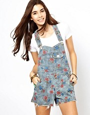 Free People Printed Denim Dungarees