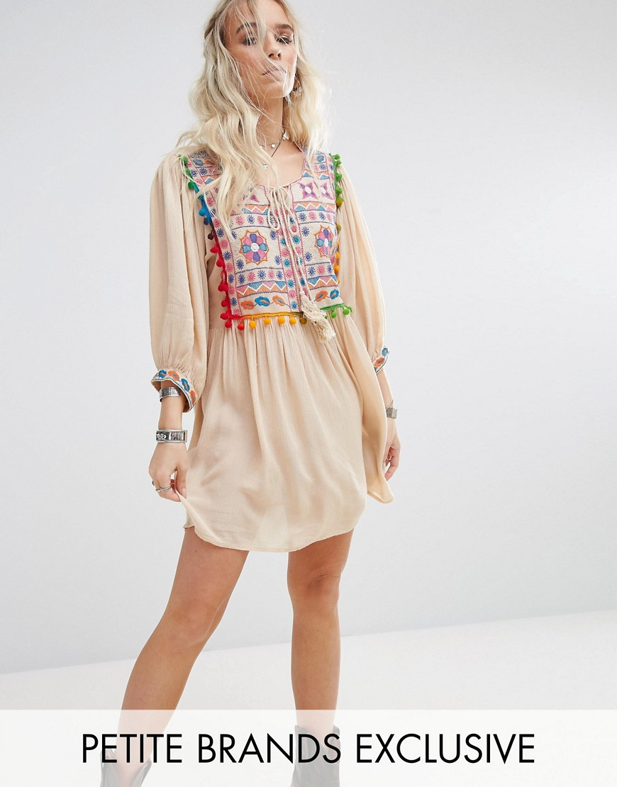 Glamorous Petite Pom Pom Mirror Embroidered Swing Dress - Cream
