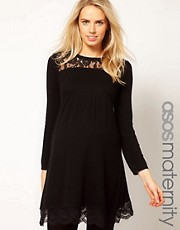 ASOS Maternity Knitted Dress With Lace Insert