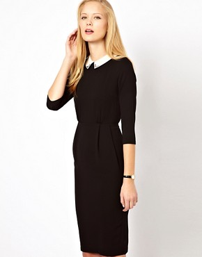 Image 1 ofASOS Tulip Dress With Collar Detail