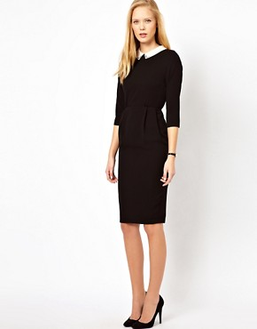Image 4 ofASOS Tulip Dress With Collar Detail