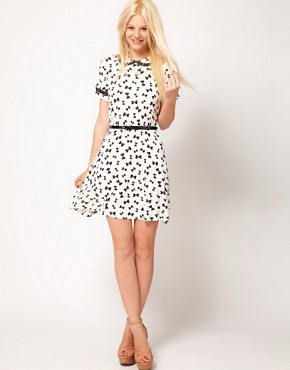 Image 4 ofASOS Skater Dress in Bow Print