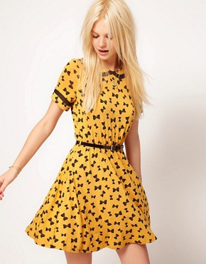 Image 1 ofASOS Skater Dress in Bow Print