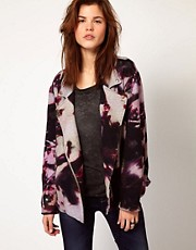 Diesel Rock Print Jersey Biker Jacket