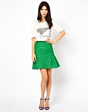 Ostwald Helgason Skirt wtih Flared Hem in Floral Embroidered Fabric