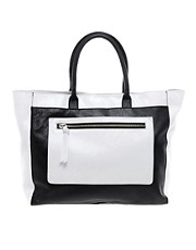 Mango Leather Zip Pocket Shopper
