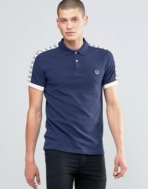 Fred Perry Polo Shirt With Sleeve Taped Sleeves In Carbon Blue
