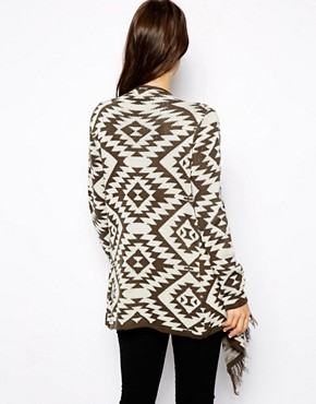 Image 2 ofASOS Blanket Cardigan With Fringe Detail