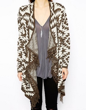 Image 3 of ASOS Blanket Cardigan With Fringe Detail