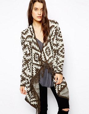 Image 1 ofASOS Blanket Cardigan With Fringe Detail
