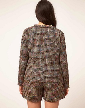 Image 2 ofASOS CURVE Exclusive Bow Jacket In Rainbow Textured Fabric