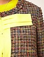 Image 3 ofASOS CURVE Exclusive Bow Jacket In Rainbow Textured Fabric