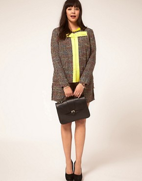 Image 4 ofASOS CURVE Exclusive Bow Jacket In Rainbow Textured Fabric