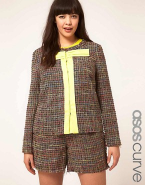Image 1 ofASOS CURVE Exclusive Bow Jacket In Rainbow Textured Fabric
