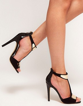 Image 3 ofASOS HASHTAG Metal Trim Heeled Sandals