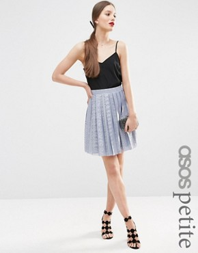 ASOS PETITE Pleated Lace Mini Skirt